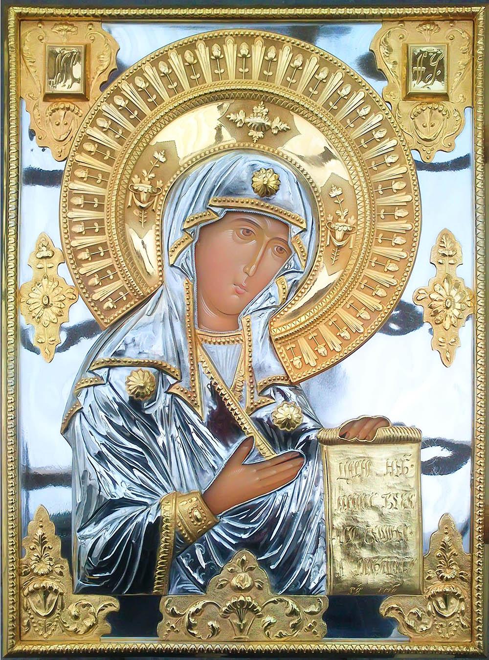 фото Боголюбская икона Божией Матери гальванопластика золото серебро большая храмовая