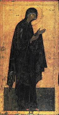 Деисусная икона Богородицы из иконостаса Благовещенского собора Московского Кремля