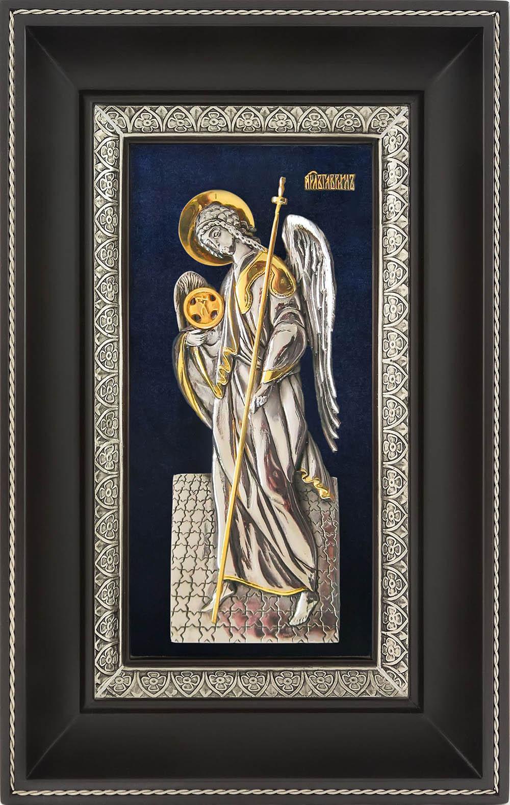 фото икона святого архангела Гавриила гальванопластика золото серебро деревянная рамка