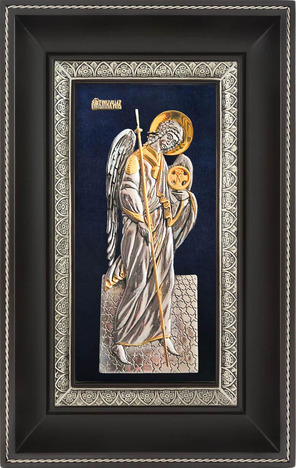 фото икона Архангела Михаила гальванопластика золото серебро деревянная рама