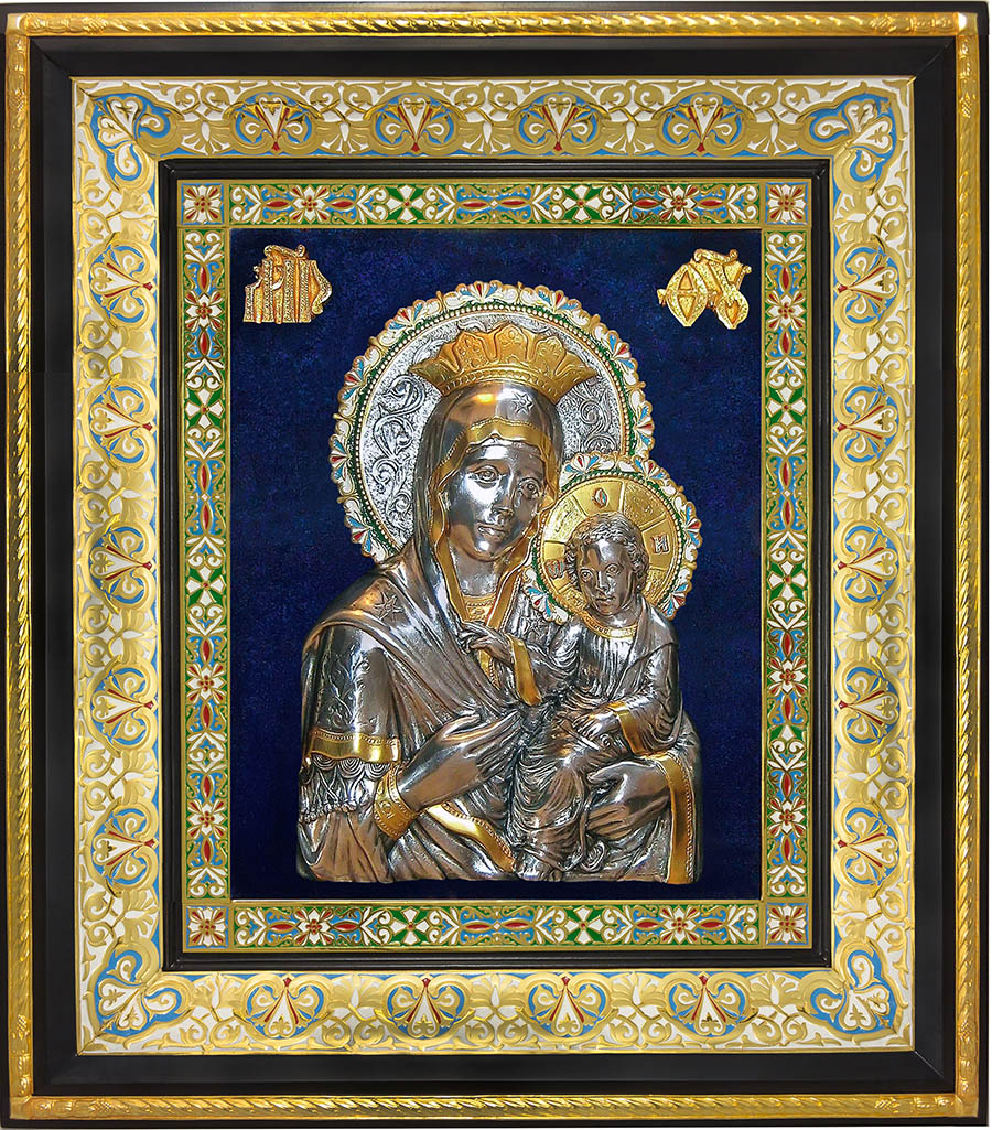 фото иконы Божией Матери Скоропослушница гальванопластика золото серебро холодная эмаль