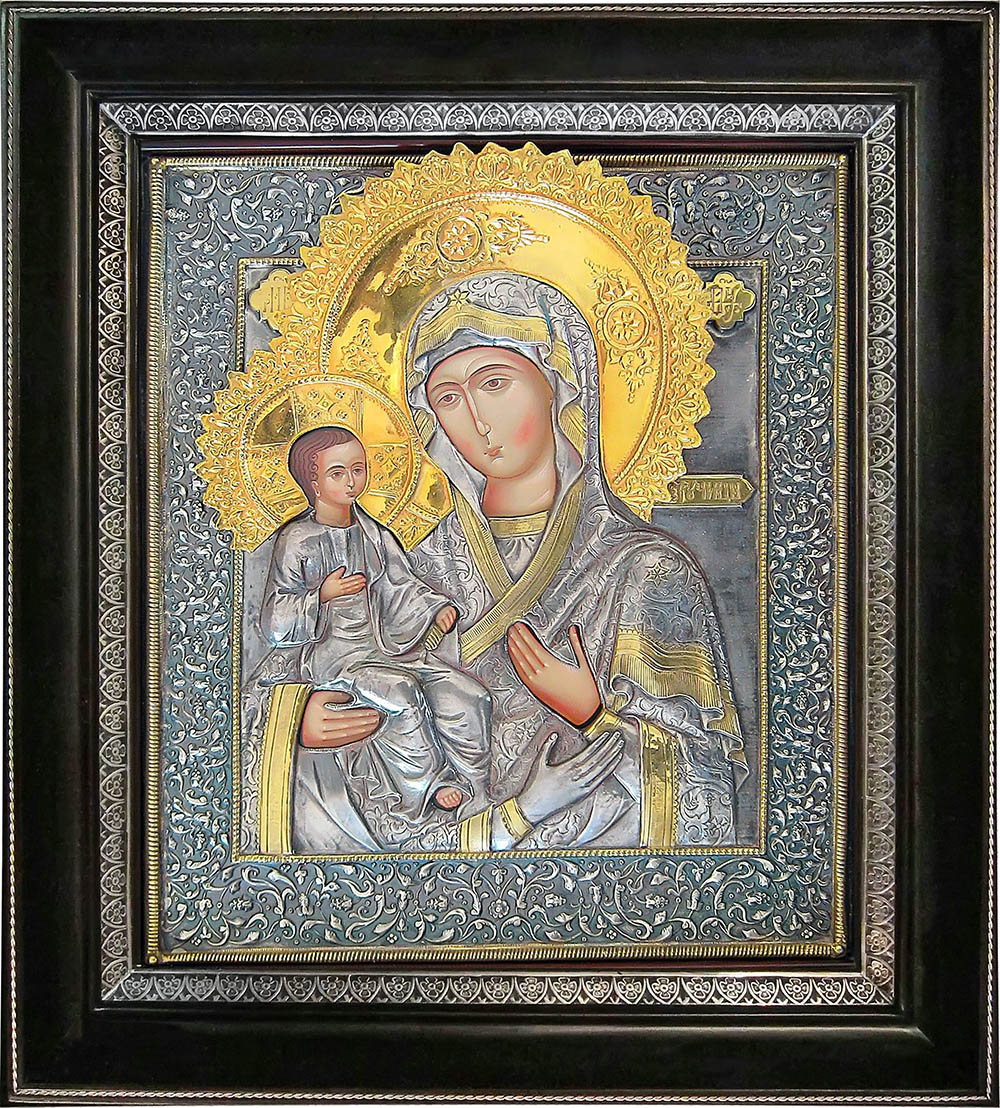 фото икона Божией Матери Троеручица гальванопластика золото серебро