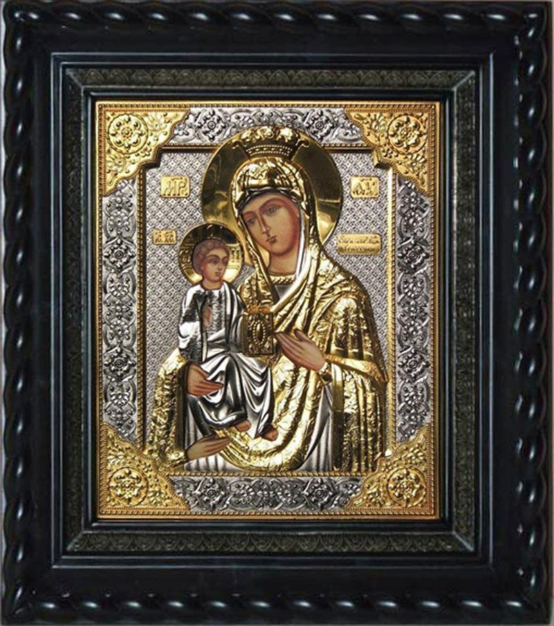 фото икона божией матери троеручица под стеклом серебро золото