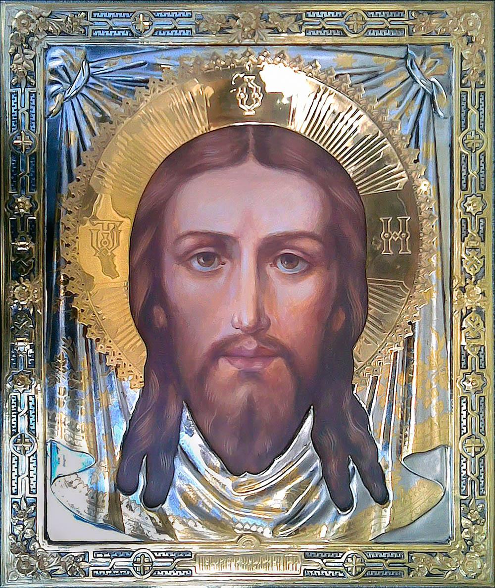 фото икона Спас Нерукотворный гальванопластика золото серебро живопись