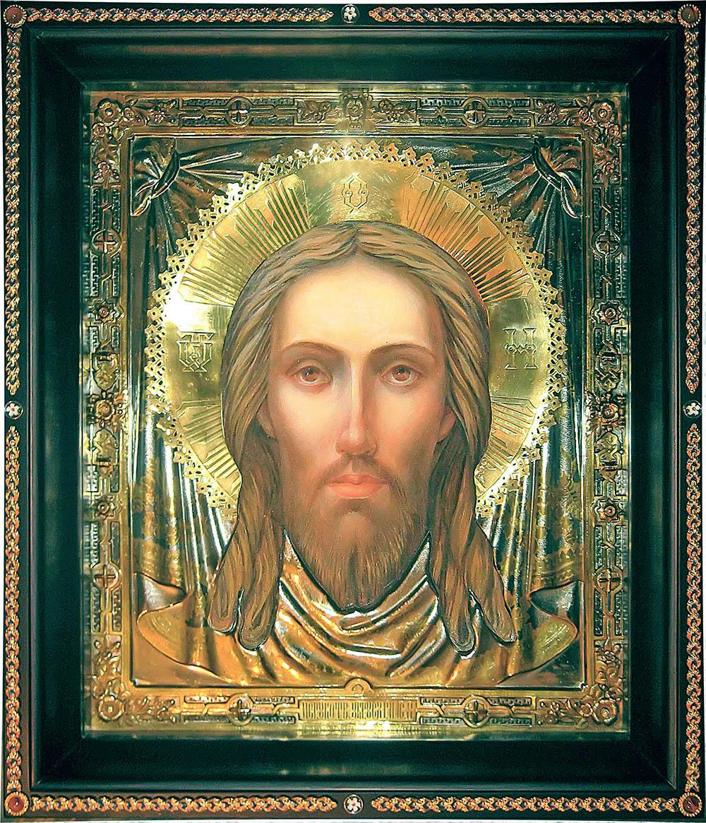 фото храмовая большая икона Спас Нерукотворный гальванопластика золото серебро живопись
