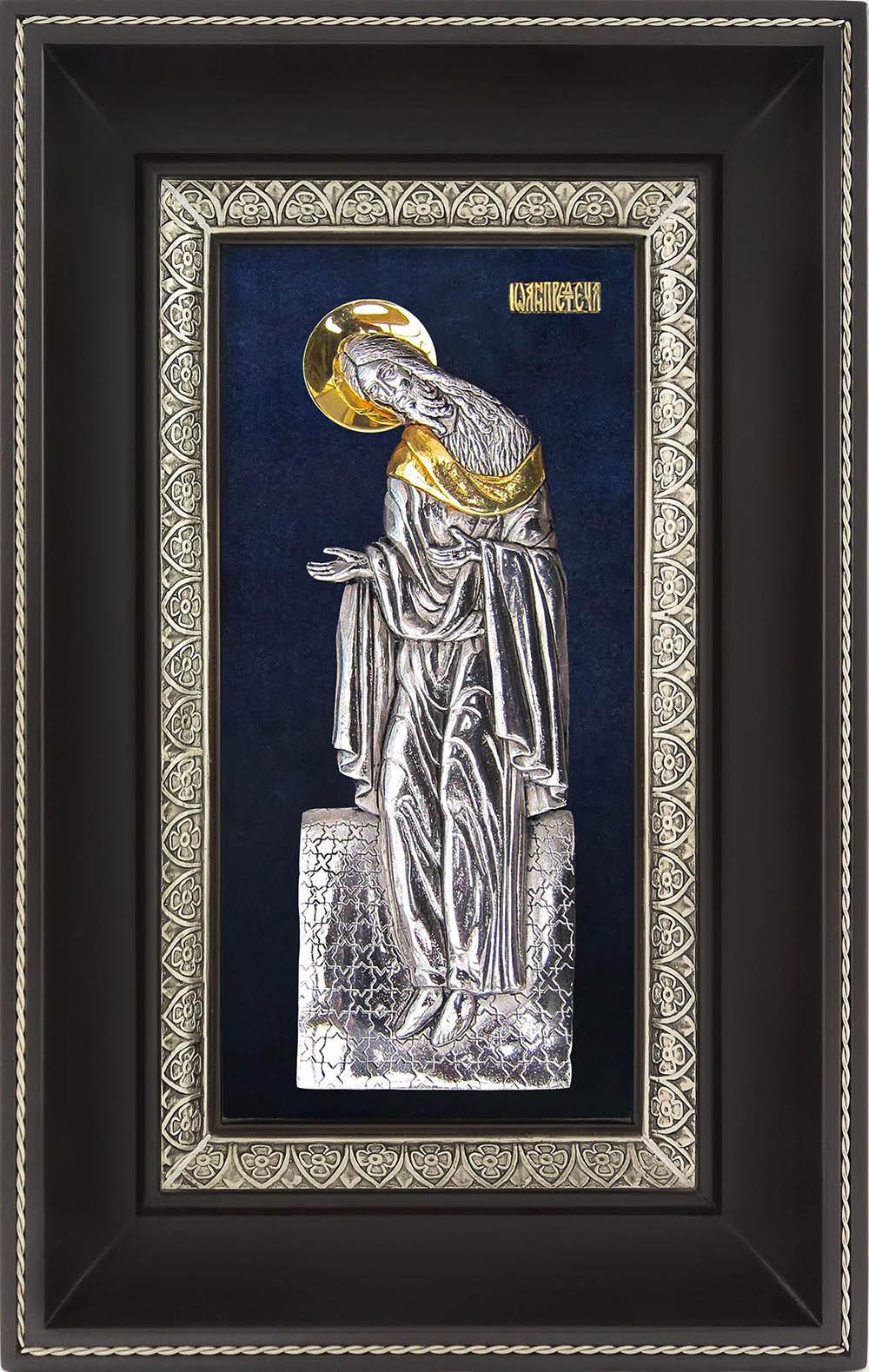 фото икона святого Иоанна Предтечи Крестителя гальванопластика золото серебро деревянная рама