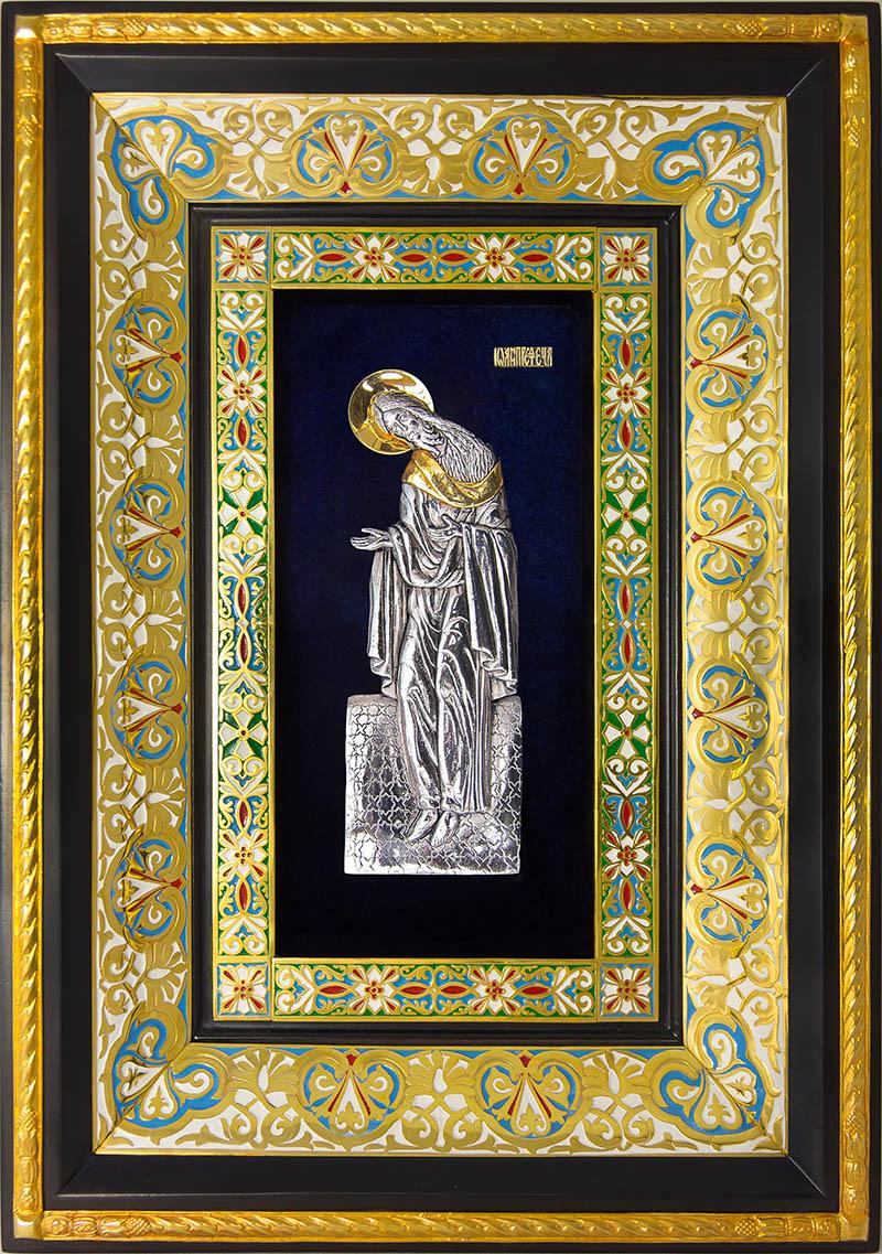 фото ростовая икона святого Иоанна Предтечи Крестителя гальванопластика золото серебро