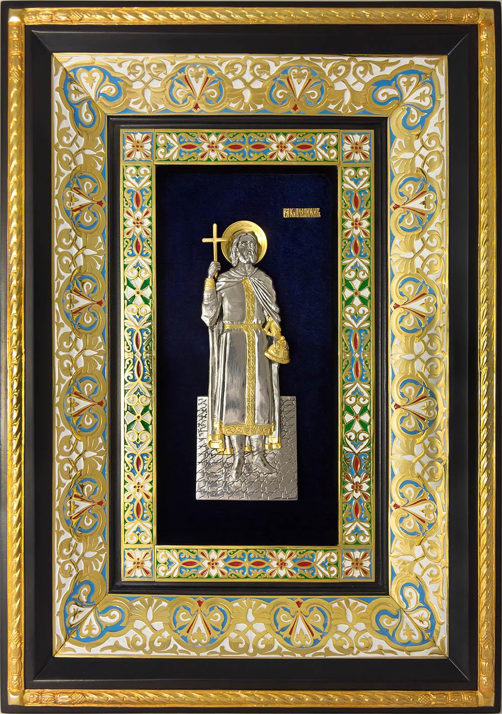 фото икона святого равноапостольного князя Владимира гальванопластика холодная эмаль серебро золото