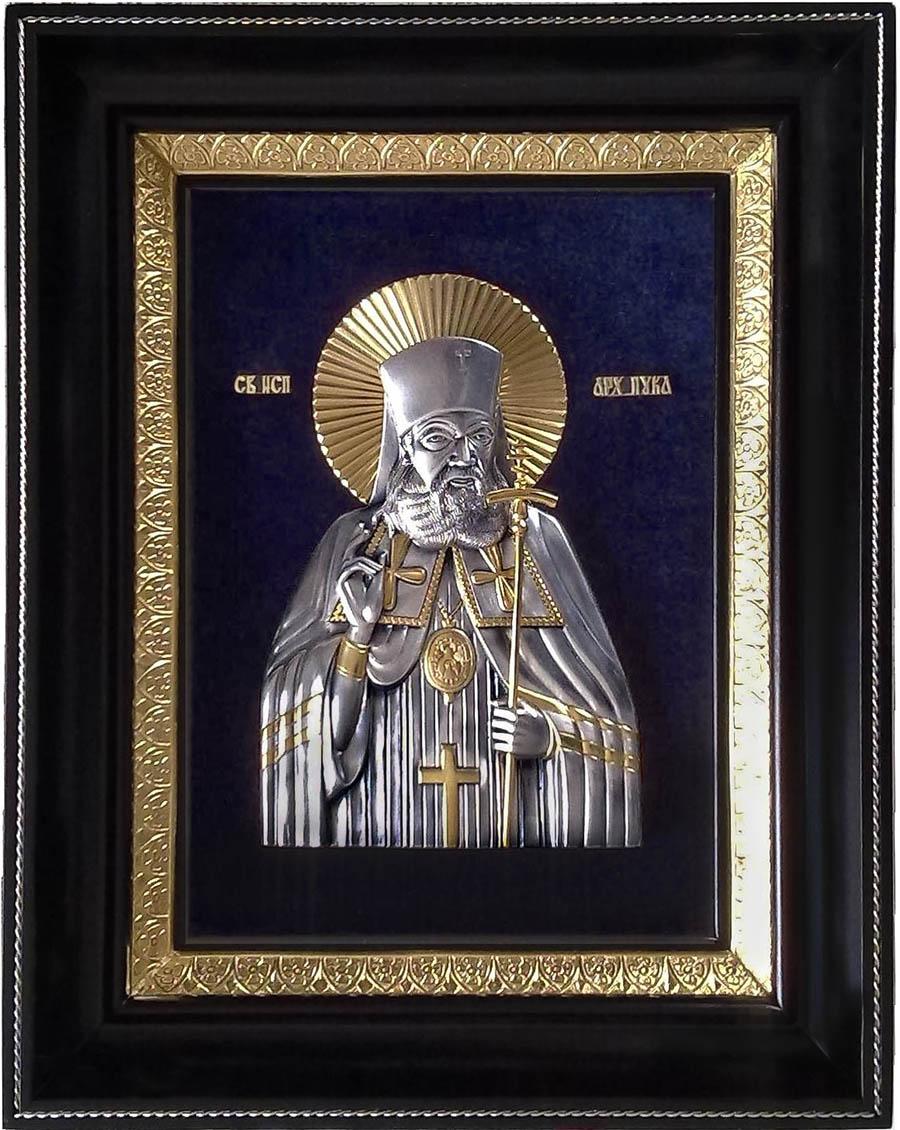 фото икона святителя Луки Крымского гальванопластика серебро золото деревянная рама