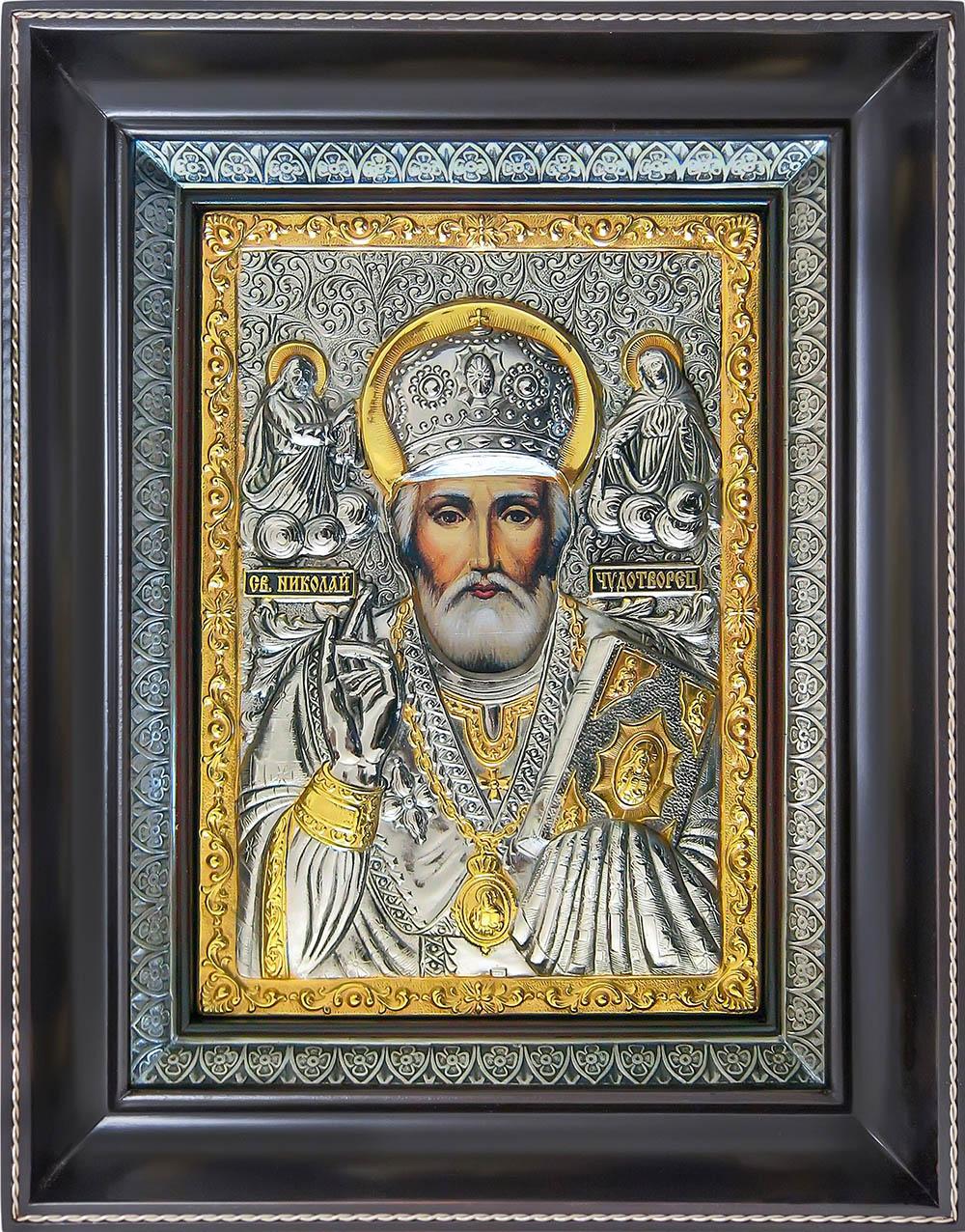 фото икона святителя Николая Чудотворца Угодника гальванопластика серебро золото деревянная рама