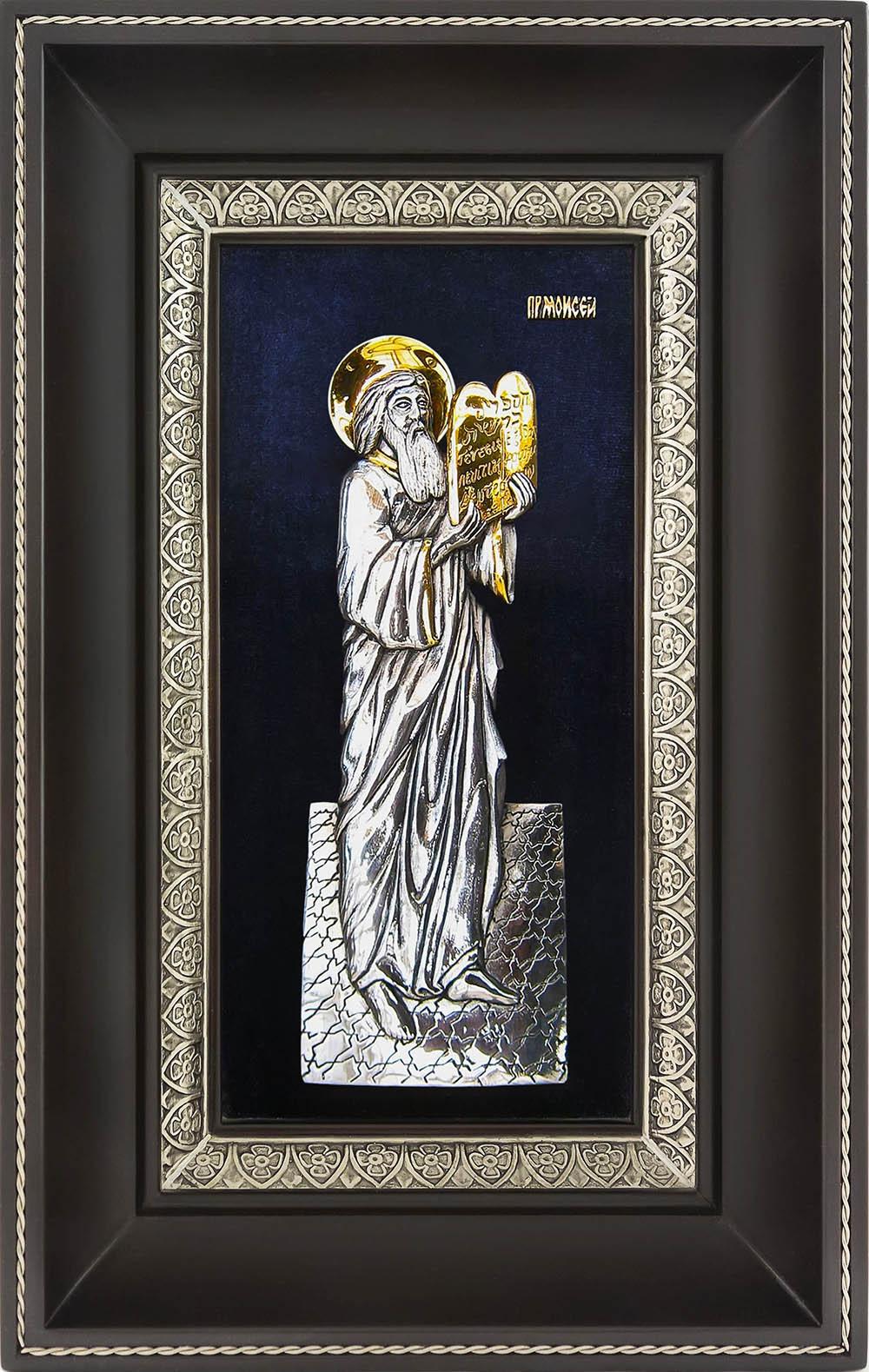 фото икона святого пророка Моисея гальванопластика золото серебро деревянная рамка