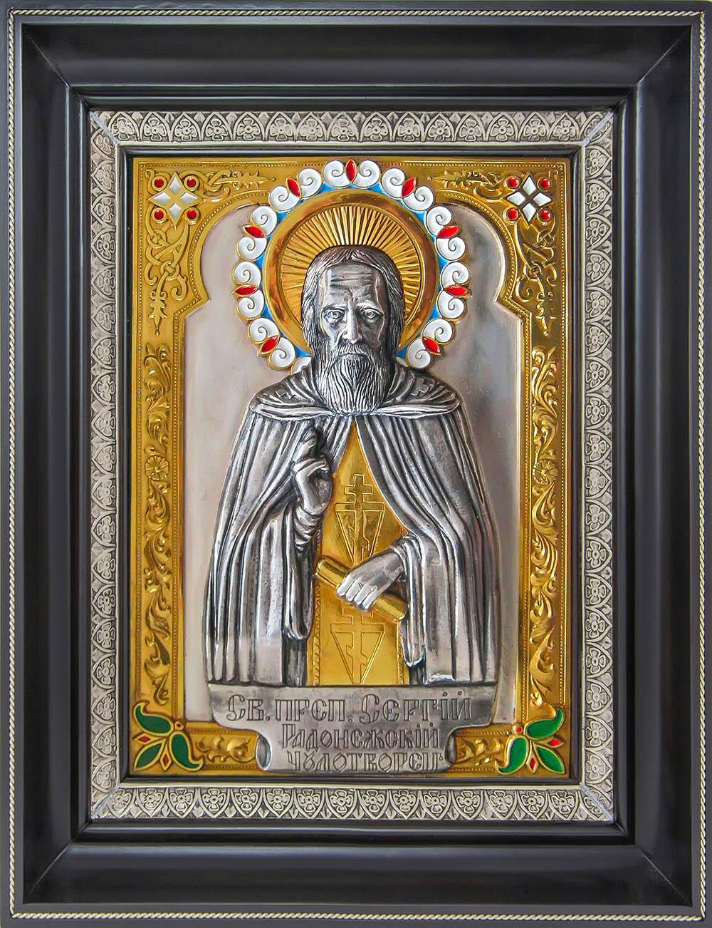 фото икона святого преподобного Сергия Радонежского гальванопластика золото серебро