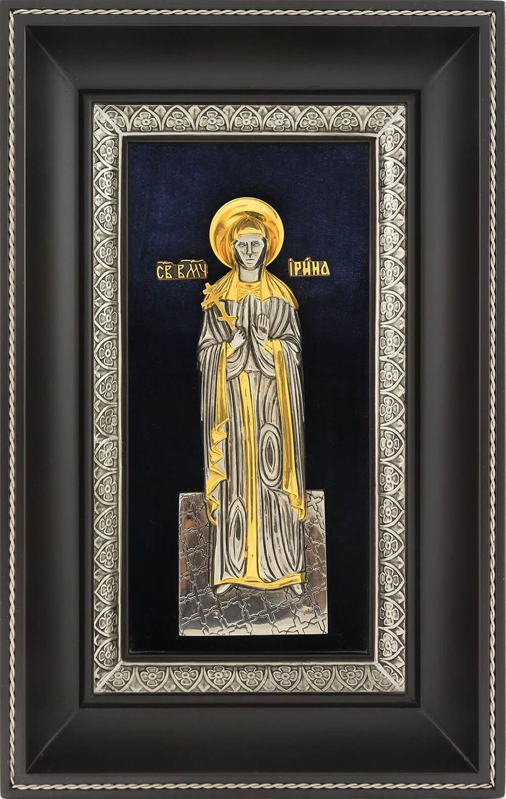фото икона святой великомученицы Ирины Македонской гальванопластика золото серебро деревянная рамка бархат