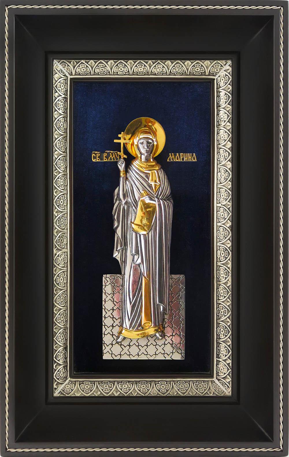 фото икона святой великомученицы Марины Антиохийской гальванопластика серебро золото