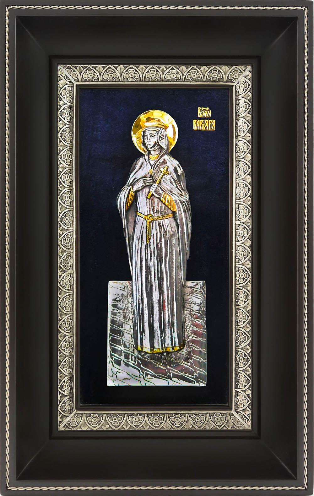 фото икона святой великомученицы Варвары гальванопластика золото серебро деревянная рамка бархат