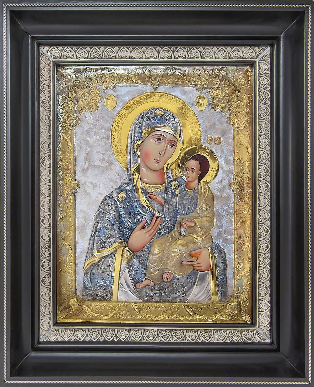 фото Иверская икона Божией Матери гальванопластика золото серебро деревянная рама