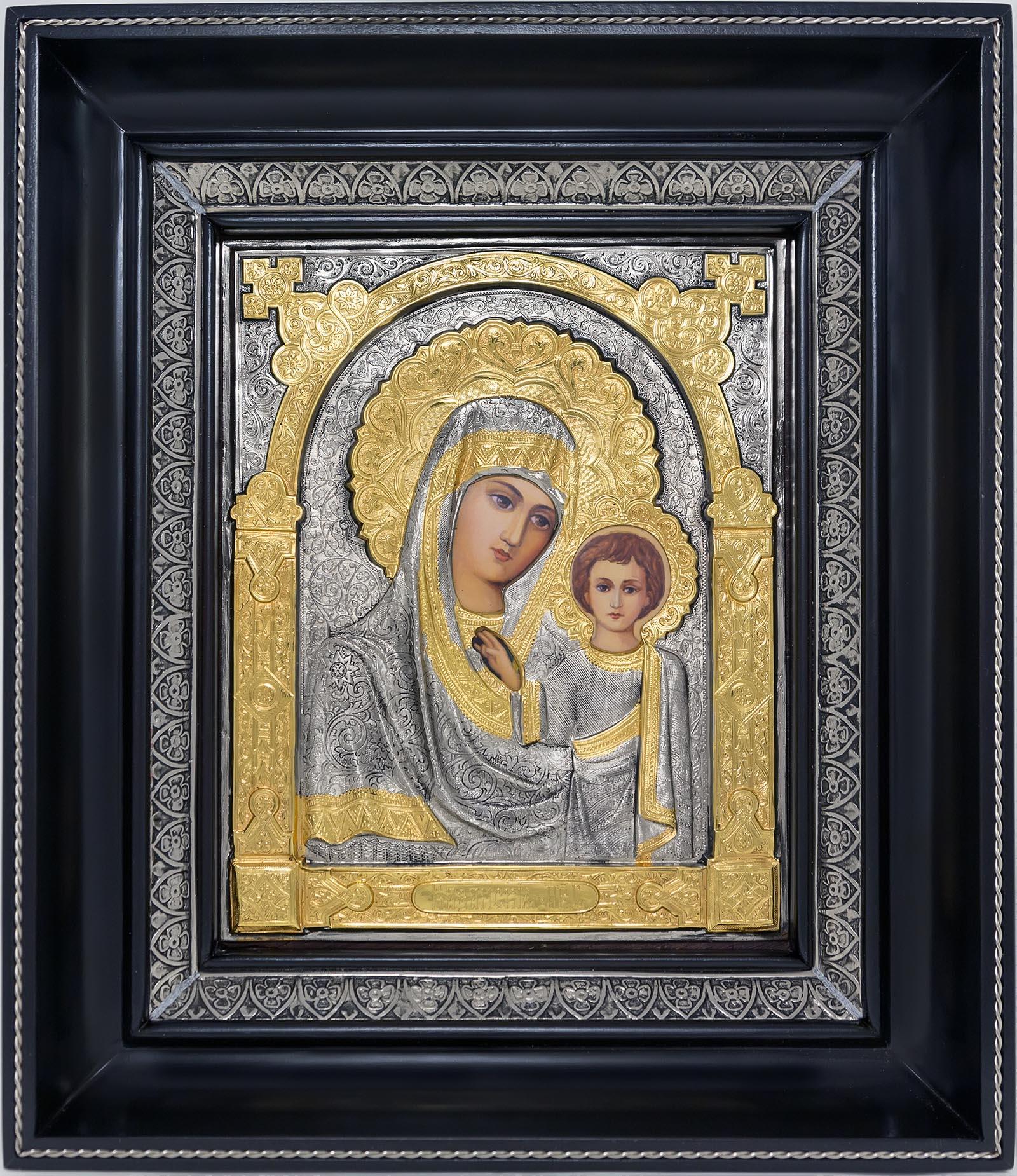 фото Казанская икона Божией Матери гальванопластика золото серебро деревянная рамка