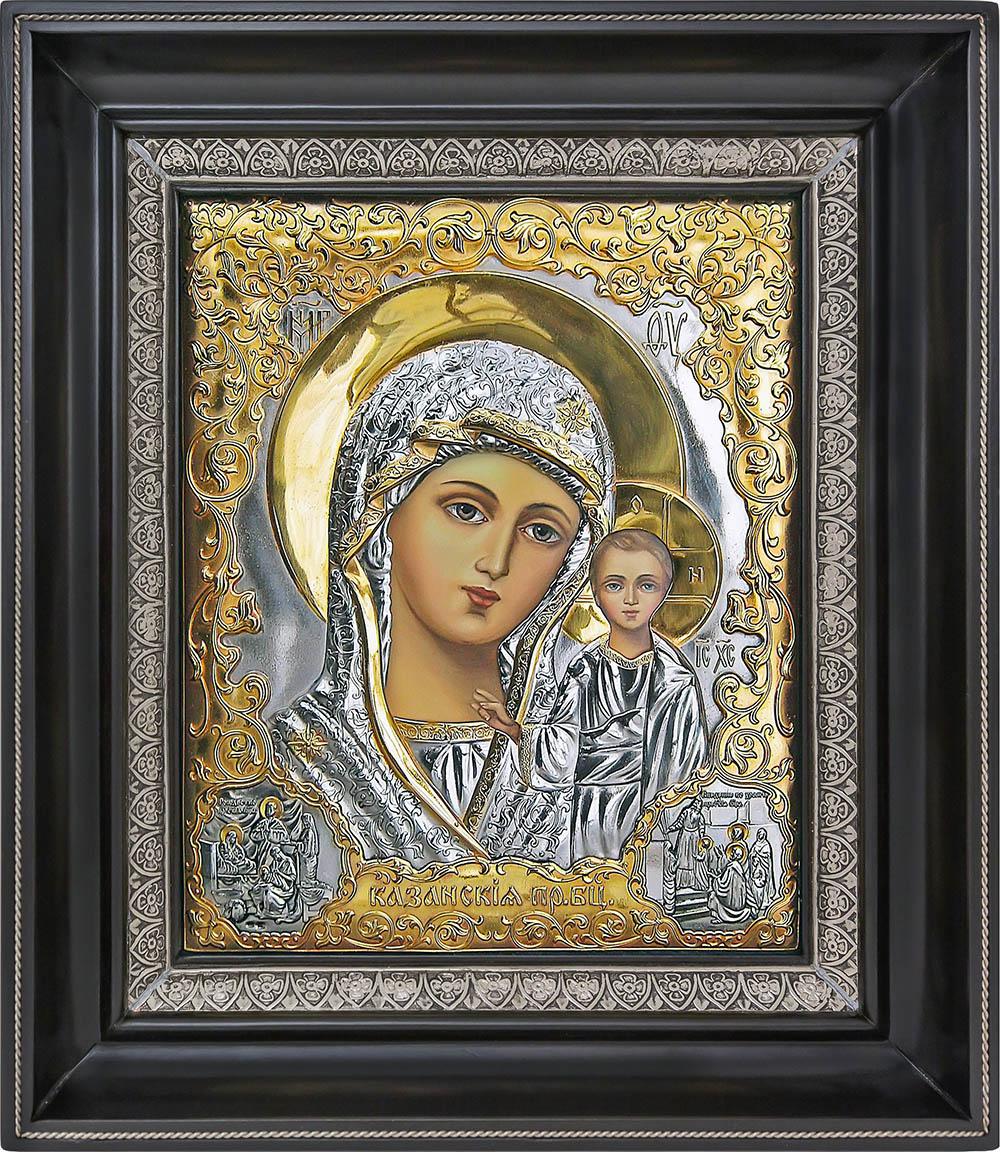 фото Казанская икона Божией Матери гальванопластика золото серебро