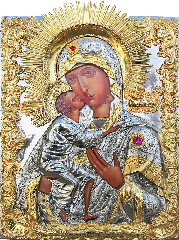 фото Феодоровская икона Божией Матери гальванопластика золото серебро живопись