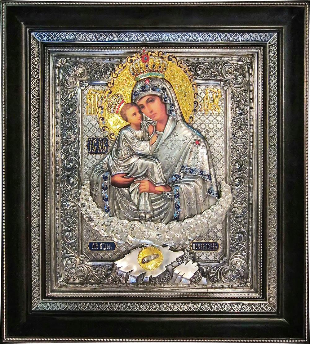 фото иконы Почаевской Божией Матери гальванопластика золото серебро деревянная рамка