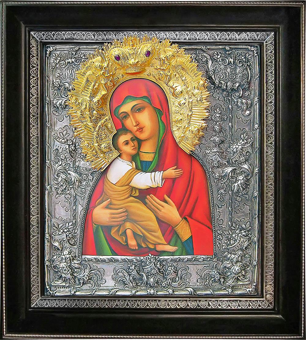 фото Владимирская икона Божией Матери гальванопластика золото серебро дерево