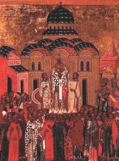 фото старинная икона Воздвижение Креста Господня Новгород XV век