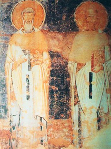 фото кирилл и мефодий фреска собора святой софии охриде